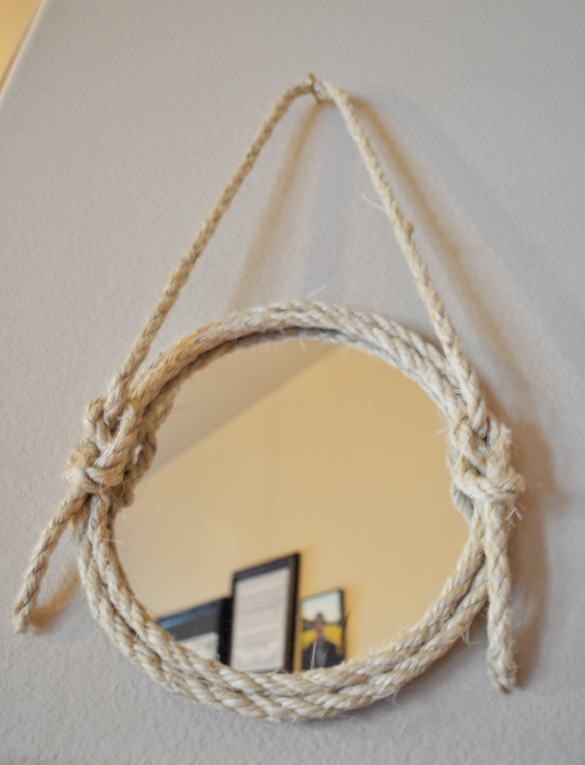 9 round hanging mirror with nautical rope knot by afullheartdesign. Black Bedroom Furniture Sets. Home Design Ideas