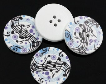 """Wholesale 30PCs Wood Sewing Buttons Scrapbooking Musical Note Round Multicolor 1 1/8""""Dia"""
