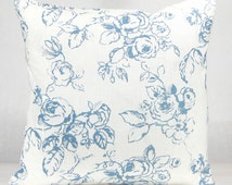 Blue French Country Pillow - Wedgewood Blue and White French Country Designer Euro Sham, Decorative Pillow Shabby Chic