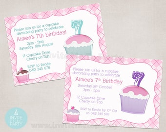 Cupcake Decorating Party Invitation