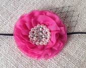 The Audrey : Baby/Girls Pink Jeweled Flower Headband with Birdcage