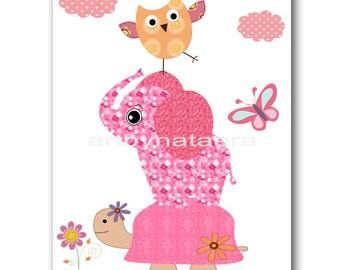 Elephant Nursery Print Digital file Turtle Nursery Owl Nursery Baby Girl Room Decor Baby Girl Nursery Art 8x10 11X14 INSTANT DOWNLOAD rose