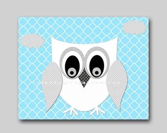 Owl Decor Owl Nursery Digital Art Printable Print Baby Boy Nursery Art Children Art Kids Art Digital Download 8x10 11X14 INSTANT DOWNLOAD