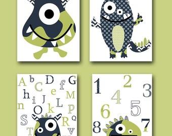 Digital Alphabet Nursery Baby Boy Nursery Art Print Monster Nursery Children Art Print set of 4 8x10 11X14 Kids INSTANT DOWNLOAD Wall Art