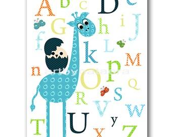 INSTANT DOWNLOAD Art Alphabet Nursery Printable Boy Room Nursery Digital Download Art Baby Boy Nursery Digital Download Print 8x10 11X14