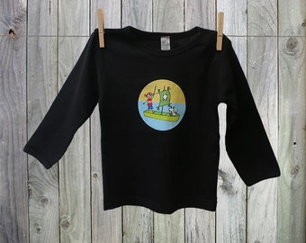 Black Long Sleeve Pirate Tshirt for Baby Boy