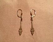 art deco key ear jewels decorative gold tone set