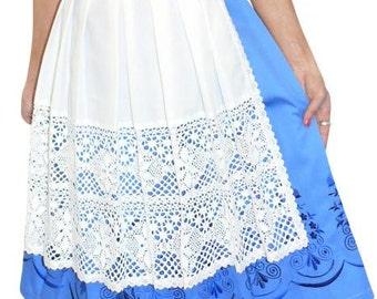 3-Piece Long Blue German Dirndl Dress 2 4 6 8 10 12 14 16 18 20 22 24 26 XS S M L XL 2XL