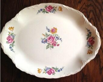 Vintage Porcelain Floral Serving Platter Made in the US M498-5