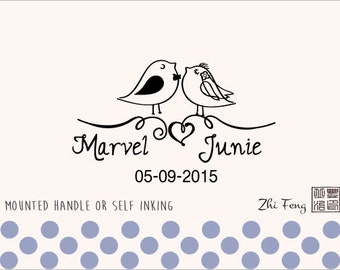 Custom Personalized Wedding Stamp - Mounted Handle or Self Inking - 001