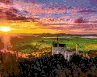 Sunset at Neuschwanstein Cross Stitch Chart