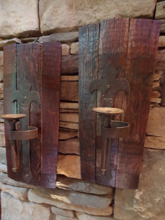 Large Rustic Repurposed Whiskey Barrel Stave Wall Sconce