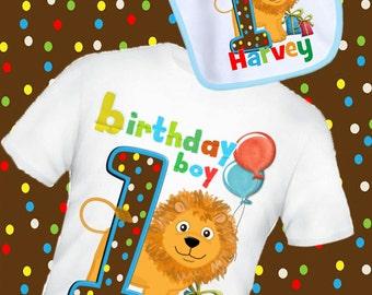 jungle, lion, giraffe, zebra  persoanalised birthday t shirt  bib set 1st 2nd any name and age