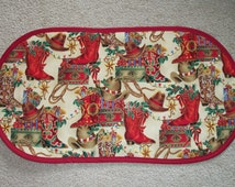 Winter Holiday Western Christmas Cowboy Boots Hats Placemat Table Runner Centerpiece 12.5x24