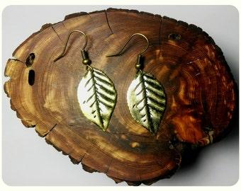 Handmade Tiny Bronze Leaf Earrings