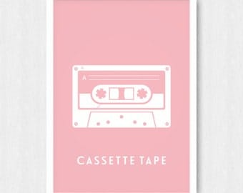 Pink Cassette Tape Print, Wall Print, Wall Decor, Strong Pink, Cassette Tape, Mix Tape, Music, Printable, Digital Poster, Instant Download