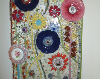 FLOWER POWER mosaic wall hanging