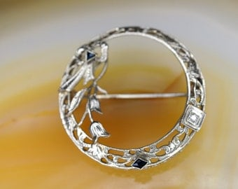 Art Nouveau 14k White Gold, Sapphire, and Diamond Pin