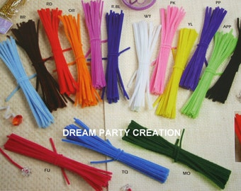 "12"" Chenille ( PIPE CLEANER ) 6MM Stems 25 Per Color Choose From 14 Colors"