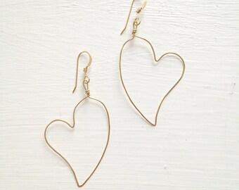 14k Gold Filled Hammered Heart Earrings