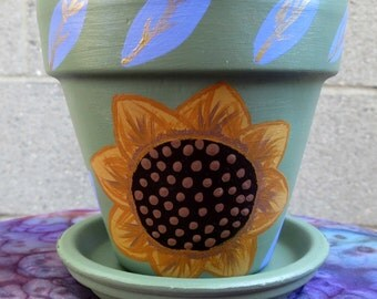 Hand Painted Clay Pot - (Yellow/Green/Lavender/Brown/Gold)