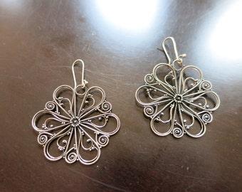 Handmade Sterling Silver Balinese Flower Earrings