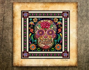 Sugar Skulls Art Print by Artist Dan Morris. Day of the Dead, All Saints Day, Sugar Skull decor,skull decor
