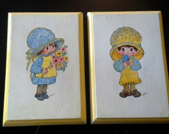 70s Vintage Boy and Girl Hand Painted Wooden Plaques