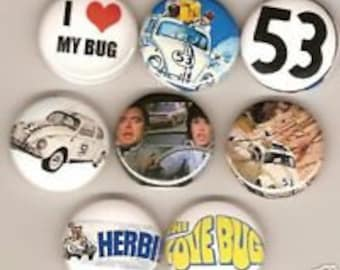 Herbie The Love Bug  8 Pins Button Badge Pinback