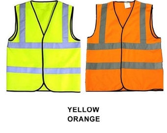 Child & Baby Reflective Safety Vests Yellow Orange Hi Visibility Printable Sport Groups School Size 0-6 or 6-12 mo 1-2, 3-5, 6-8, 9-12 years