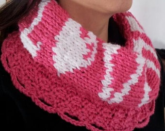 Hot Pink Love Neck Warmer / Infinity Knit Women's Scarf