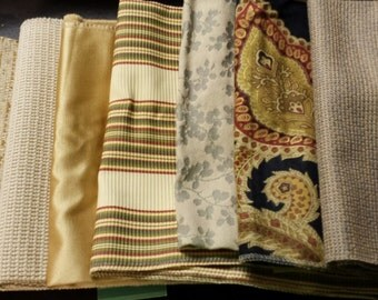 Set of Seven- 17in x 17in Upholstery fabric Squares- A8