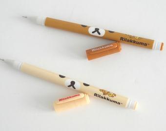 Kawaii Rilakkuma (Brown) and Korilakkuma (Beige) Black Ink Pen Stocking Stuffers Teens & Kids gifts