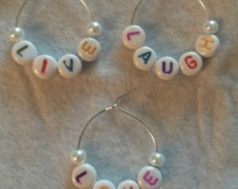 Handmade personalised wine glass stem charms (silver or gold plated)