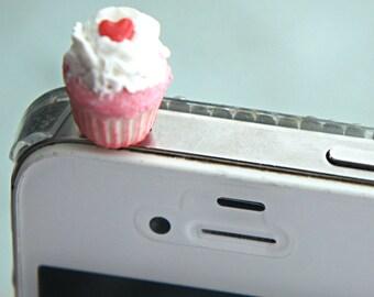 red velvet cupcake phone plug- dust plug, phone accessories, cupcake accessories