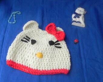 "Unisex crochet handmade Beanie ""CUTE KITTY"""