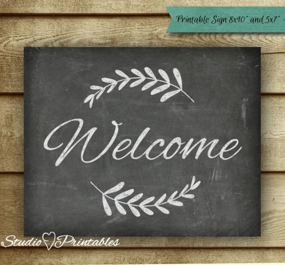 Printable chalkboard welcome sign chalkboard art print for Free printable chalkboard signs