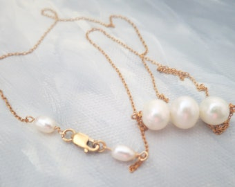 Trio Pearl Necklace, Gold Filled Bridal Necklace, Freshwater Pearl Bridesmaid Gift, Three Pearl Necklace, Pearl Trio,  Trio Pearls Necklace