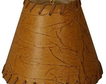 """6"""" Faux 2-Tone Leather Dark Brown Chandelier Lampshade with Lace  - 3 x 6 x 4.5 (double clip) (CS-970-6)"""