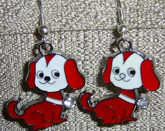 Red Doggie Earrings w/ crystal accent