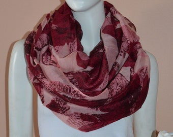 PInk Floral Light Weight X-large Infinity Scarf Loop Cowl