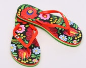 Hungarian Matyo Embroidery Flip Flop