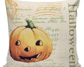Pillow Cushion Halloween Orange Vintage Pumpkin Jack O Lantern Cotton #RQ0142 RavenQuoth All Hallow's Eve Home Decor