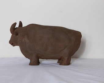Big Taurus sculpture- (Handmade clay)  One of a kind !