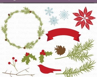 Christmas Foliage Digital Art Set Clipart Commercial Use Clip Art INSTANT DOWNLOAD Christmas Wedding Flowers Floral Clipart