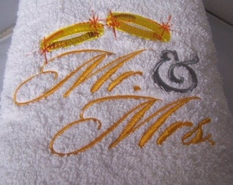 Personalised embroidered MR & MRS  bath towel (100% cotton)