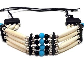 Handmade Traditional 4 Line Buffalo Bone Hairpipe Beads Tribal Choker Necklace