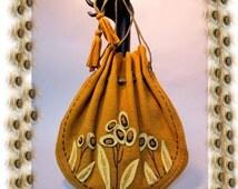 Fabulously Fun Early 1930's ARTS & CRAFTS, Wool Felt Pouch Purse, Antique Textile, Art DECO Bag