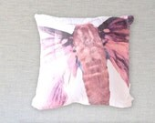 Feminine Pink Spring / Summer Butterfly Zippered Pillow, Decorative Toss Pillow, Moth Art