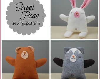 Sweet Peas - PDF Sewing Pattern for Simple Felt Toys to Sew (Bunny, Bear, and Kitty!)